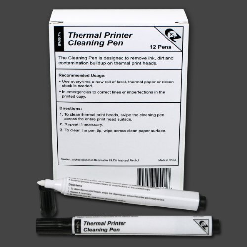 Thermal Printer Cleaning Pens for All Thermal Printers, Box of 12 (Thermal Stock)