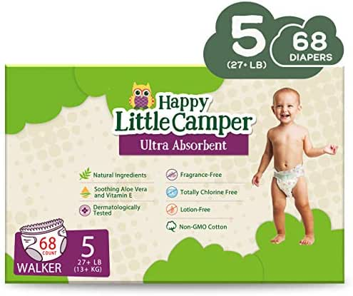 Happy Little Camper x Hilary Duff Ultra-Absorbent Hypoallergenic Natural Baby Diapers with Bio-Core Blend and Strong Latex and Chlorine-Free Protection, Size 5, 68 Count