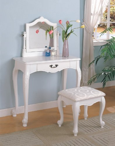 Coaster 300076 Vanity Set with Center Drawer, White by Coaster Home Furnishings