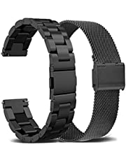 OTOPO Compatible Samsung Galaxy Watch 4 Band 44/40mm /Galaxy Watch 4 Classic Bands 46mm/42mm Set, 2Pack Metal Stainless Steel Straps Bracelet Replacement for Galaxy Watch 4/Watch4 Classic
