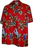 Pacific Legend Parrots Hawaiian Shirt, Red (4X)