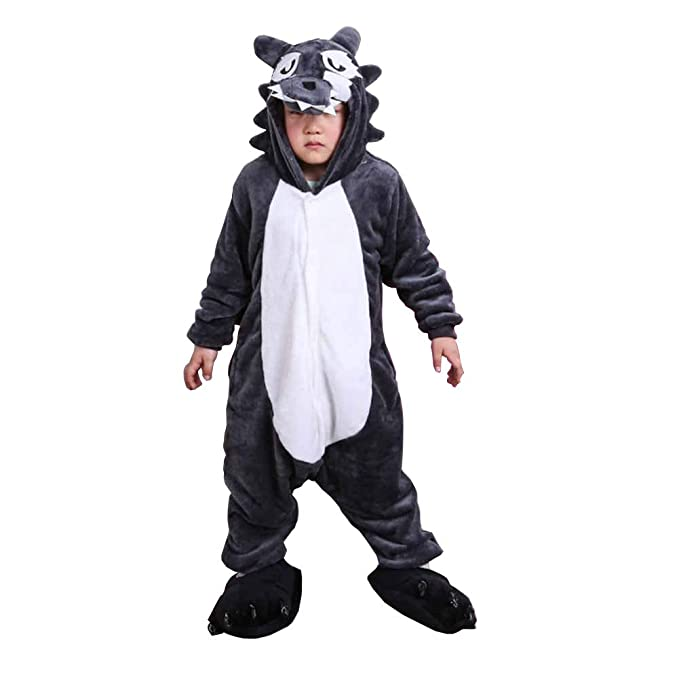 Disfraz Pijamas para Unisex Niños Animales de Vestuario Lobo Gris