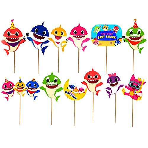 12 piezas de decoración para cupcakes de bebé tiburón fiesta ...
