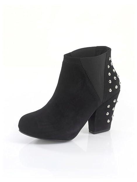 Alba Moda Mujer Botines, Negro, Alemán) con Plateada Diseño de tachuelas, color Negro, talla 37 EU: Amazon.es: Zapatos y complementos