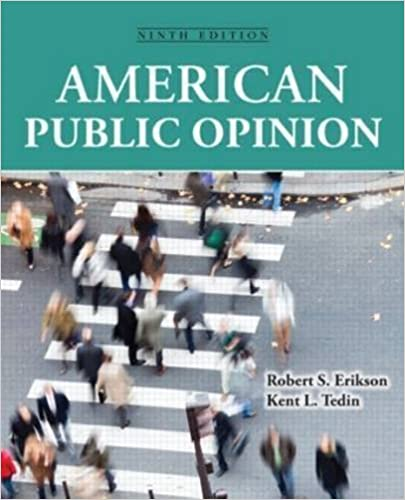 Book American Public Opinion: Its Origins, Content and Impact 9th edition by Erikson, Robert S, Tedin, Kent L. (2014)