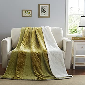 Tache Sherpa Fur Sunny Day Soft Floral Olive Green Chartreuse Fleece Throw  Blanket, 50x60