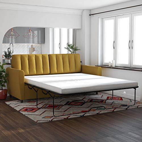Novogratz Brittany Sleeper Sofa with Memory Foam Mattress, Mustard, Queen