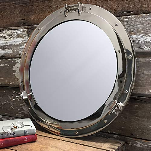 Aluminum Porthole Mirror - 17inch W/ Chrome Finish - Nautical Ship Décor ()