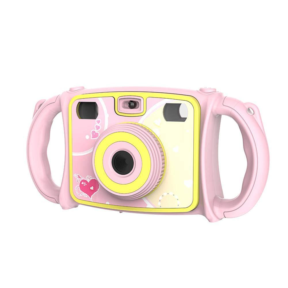 デュアル自撮りカメラ 1080P HD ビデオレコーダー デジタルアクションカメラ カムコーダー 子供用 落下防止 デジタルカメラズーム デュアルレンズ ビデオカメラ 子供用 2.0インチ LCDスクリーン 4倍デジタルズームと面白いゲーム付き, ピンク, DB0122402  ピンク B07KZSQJ9G