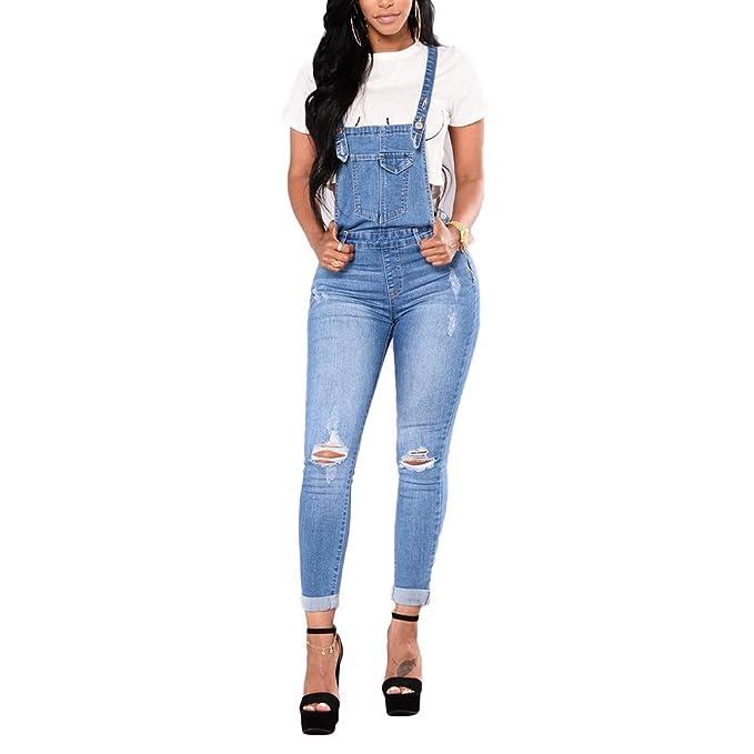 baf6ee0eea26 Bmeigo Dungarees Denim Womens - Skinny Playsuit Jumpsuit Jeans Ladies Slim  Fit Overalls Trousers  Amazon.co.uk  Clothing