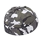 YueLian Kids Camo Style Round-Shaped Beanie Skull Prayer Cap Army Hats (Gray)