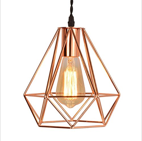GRFH Modern Iron Diamond Pendant lights Creative Plated Rose Gold Three Head Ceiling Lights Restaurant Bar Stores Clothing Pendant Lamp E27 220V 110V , a - Diamond Tiffany Single Light