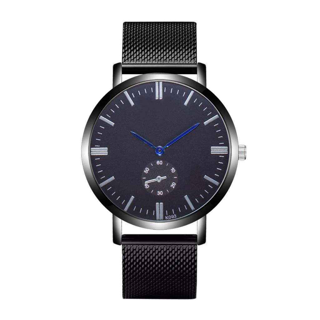 WoCoo Business Quartz Analog Watch with Simple Blue-Ray Dial Wristwatch Date Stainless Steel Strap Watches for Men-Black