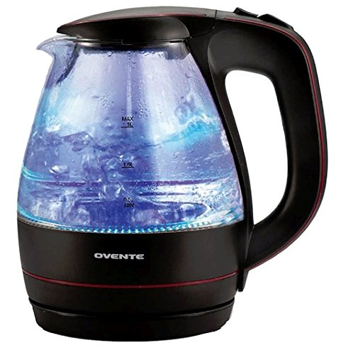 1.5-Liter Black Concealed Water Heating Element Flip-Back Lid Automatic Shut-Off Boil-Dry Protection Glass Electric Kettle, Dimensions 8Lx6Wx9.3H (Automatic Glass)
