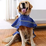 Dog Raincoat Waterproof clothes Outdoor Rain Coat Jacket Coat Reflective Safe (Blue, M)