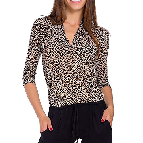 HIRIRI Leopard Zebra Print Women Blouse Loose Overlap Casual Shirt Long Sleeve V-Neck Elegant Ladies Tops Khaki
