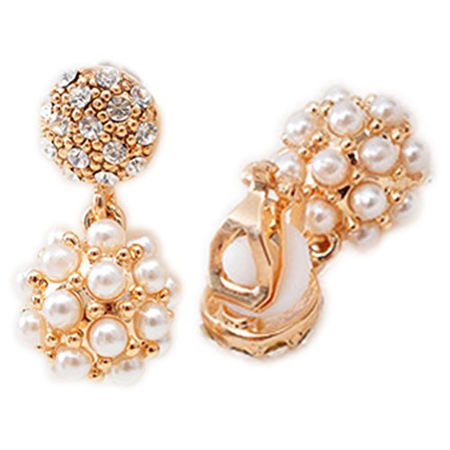 Clip Ball Pearl Earrings - Simulated Pearl Ball Clip on Earring Dangle Clips for non Pierced Rhinestone Crystal Women Dinner Charm