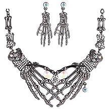 Du Fangbin Dia De Los Muertos Conjunto de joyas punk Gothic Skull Skeleton Choker Collar y pendientes llamativos para mujer niña