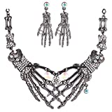 du fangbin Punk Jewelry Set Gothic Skull Skeleton Choker Statement Necklace&Earrings for Women Girl