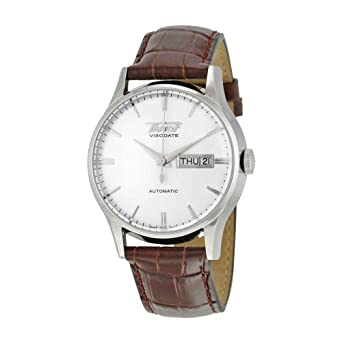 2ada04faebbd Amazon.com  Tissot Men s TIST0194301603101 Heritage Visodate Stainless  Steel Automatic Watch with Brown Leather Band  Tissot  Watches