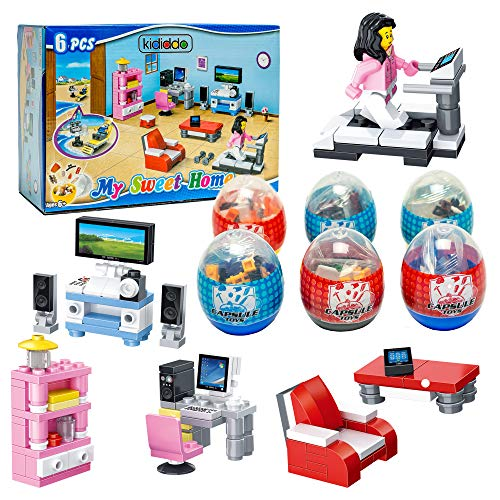6 Pack Dollhouse Furniture Toy   Mini Building Blocks Furniture STEM Toys 2 in 1 Surprise Egg with 52Pcs Building Bricks Toys. Party Favor for Kids, Goodie Bags, Birthday, Carnival Prize, Easter, BOYS