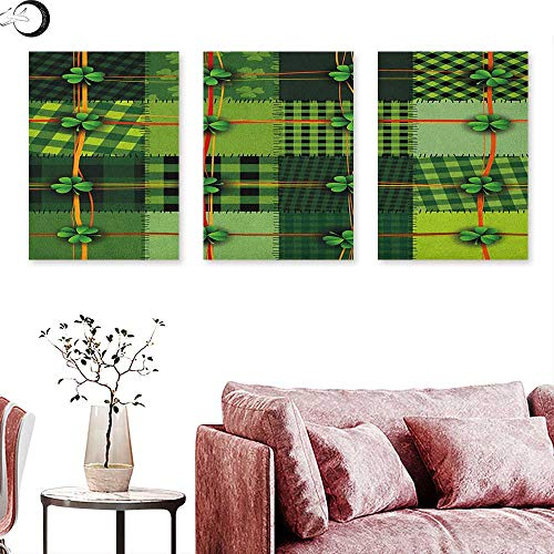 (J Chief Sky Irish Home Decor Patchwork Style St. Patricks Day Themed Celtic Quilt Cultural Checkered with Clovers Triptych Photo Frame Multicolor W 16