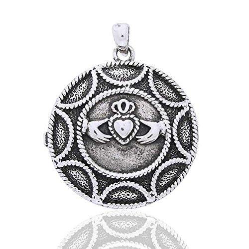 Large Round Locket (Large Round Celtic Claddagh Heart Locket Sterling Silver Pendant)