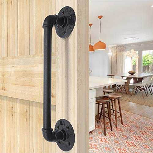 15''Length Heavy Solid Black Barn Door Handles Pipe Bar Carbon Steel Sliding Door Pull 12'' Hole to Hole Distance Duable Bedroom Bathroom Gate Door Pull
