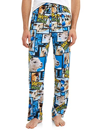 Men's Novelty Save Your Drama for Your Llama Microfleece Sleep Lounge Pants (X-Large 40-42, Black Multi)