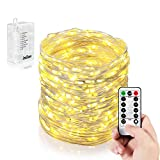 Homestarry LED String Lights,Battery Powered String Lights With Remote,33feet/132leds Indoor Decorative Silver Wire Lights for Bedroom,Patio,Outdoor Garden,Party,Wedding,Christmas Tree.