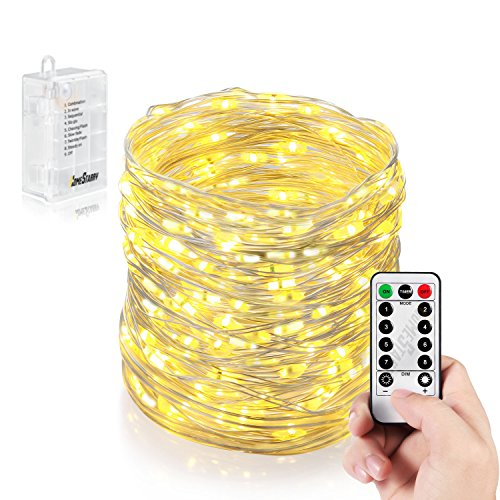 Homestarry HS-B-SL-011 132 Battery Operated Micro LED String Lights, 32-Feet with Wireless handheld remote control, Warm White Image