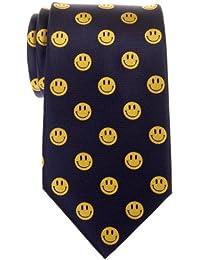 Happy Smiley Face Emoticon Woven Microfiber Men's Tie - Various Colors