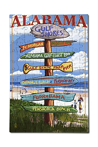 Gulf Shores, Alabama - Destinations Sign (12x18 Premium Acrylic Puzzle, 130 Pieces)