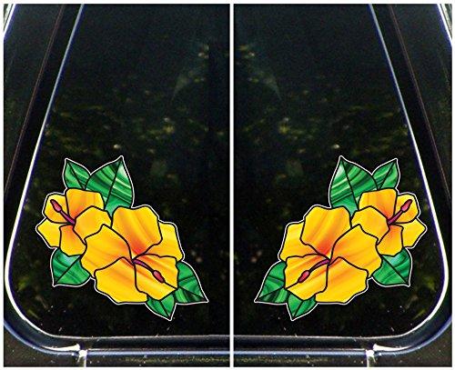 【コンビニ受取対応商品】 ペアの2ハイビスカスのステンドグラススタイル – YYDC Vinyl Decal for Laptop | Macbook |アプライアンス PAIR YELLOW – © YYDC ( 5.5