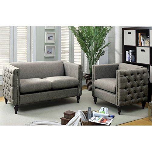 Furniture of America Bently Tufted 2 Piece Love Seat Set in Gray