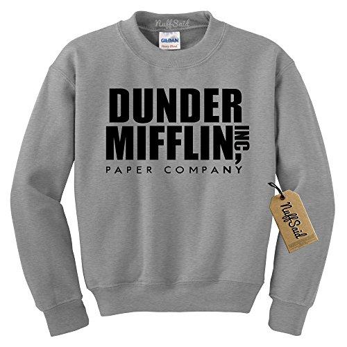 NuffSaid Dunder Mifflin Crewneck Sweatshirt - Sweater - Premium Quality TV Shirt Sweatshirt (XLarge, Grey w/Black Ink)