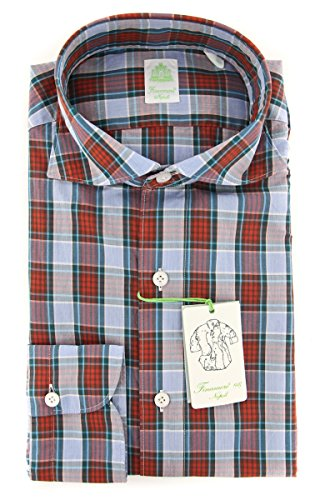 Finamore New Napoli Red Plaid Extra Slim Shirt (Shirt Red Napoli)