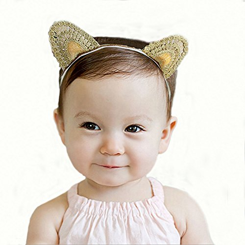 [CRB Fashion Cat Ears Golden Baby Girl Toddler Hair Tie Clip Elastic Headband] (Toddler Cat Costume Ideas)