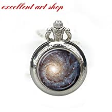 GALAXY POCKET WATCH NECKLACE Star Necklace Pendant Blue Cream Red Star Watch Pendant Astronomer Gift