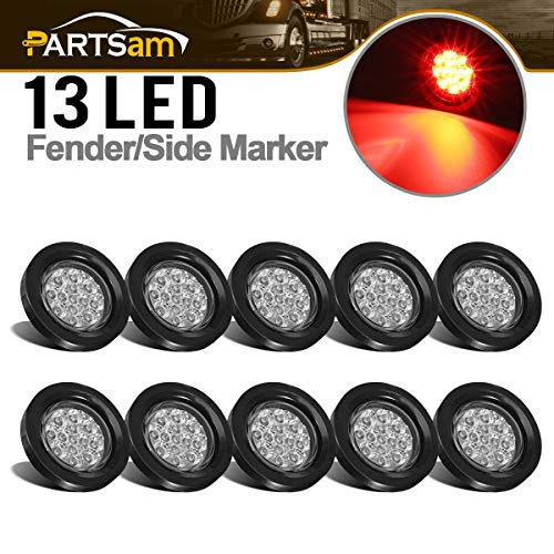 "Partsam 10Pcs 2.5"" Round Red Led and Side Marker Lights Kit 13 Diodes Clear Lens w Reflectors Grommets/Pigtails Truck Trailer Rv Flush Mount Waterproof 12V Sealed, 2.5"" Round Led Lights"