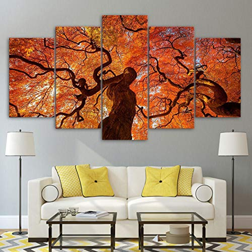 Wall Leaves Canopy Art - SHUII 5 Pieces Landscape Modern HD Print Canvas Paintings Tree Canopy Red Leaves Wall Art Posters Home Decor Modular Pictures Framed 30x40cm 30x60cm 30x80cm