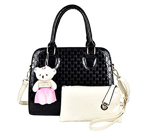 2016 Durable And Fresh Lady Bag Tote Bag Synthethic Leather Bag Two Pieces In One Set With A Bear (black)