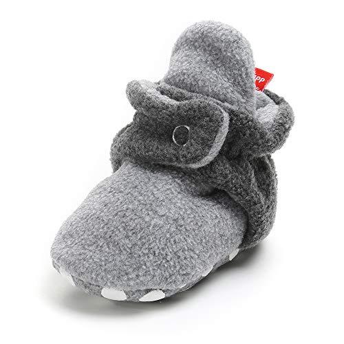 (SOFMUO Unisex Baby Cozy Fleece Booties Non Skid Bottom Newborn Socks Infant Warm Winter Crib Shoes(Dark Grey&Light Grey,0-6 Months) )