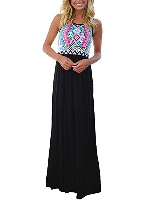 JQstar Women's Summer Bohemian Floral Print Sleeveless Long Maxi Dress