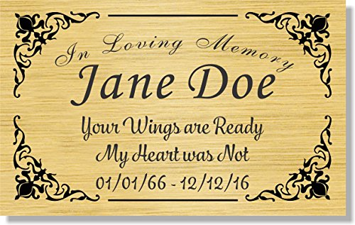2.5″ H x 4″ W, Elegant Engraved Brass Plaque, Memorial Name Plate, Black and Gold Color, Customize Message, Made in USA (Gold Plate/Black Text)
