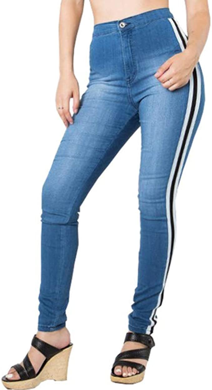 Womens Skinny Fit High Waist Contrast Stripes Ladies Full Ankle Length Leggings