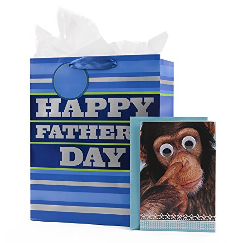 Hallmark Father's Day Large Gift Bag and Funny Greeting Card (Blue Stripes Gift Bag and Nose-Picking Monkey Card)