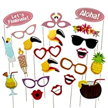 E-muse Lets Flamingle Tropical Luau Hawaiian Party Photo Booth Props 21 Count with Stick
