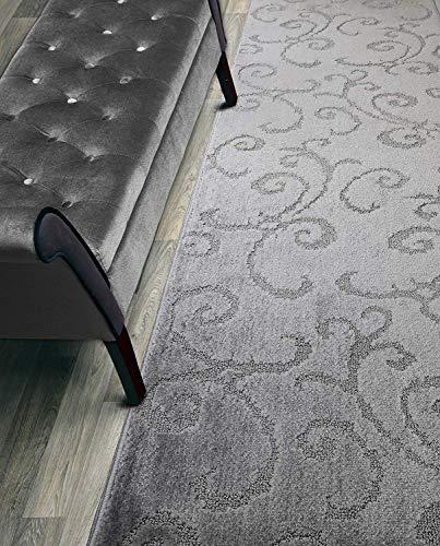 Custom Length Hallway Runner Rug,Slip Resistant,Scroll Grey, 26 Inch X 14 feet, Sold and Priced Per Foot -