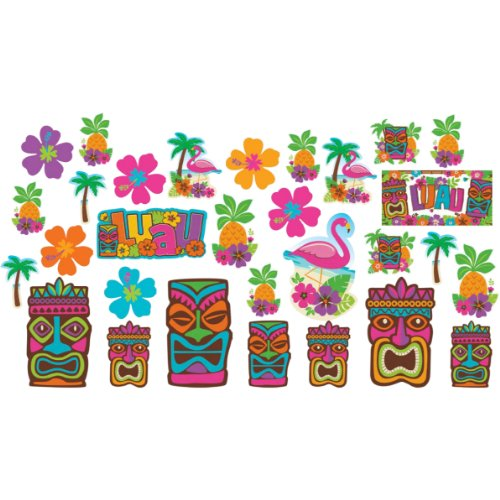 Amscan Hawaiian Summer Luau Party Assorted Cutouts Wall Decoration (30 Piece), Multi Color, 14.5 x (Cut Out Decorations)